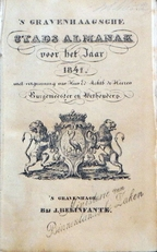 's Gravenhaagsche Stads-Almanak voor het jaar 1841.